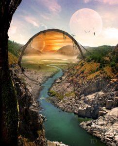 Potrait distrant (farcaster) sur une planète de l'univers d'Hypérion: un portail reliant un monde à un autre.
