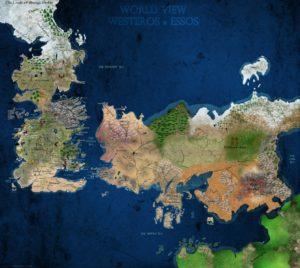Carte des continents de Westeros et d'Essos d'après George R.R. Martin