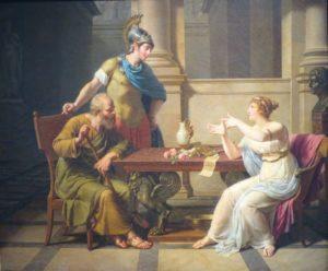 Débat entre Socrate, le premier psychomaïeuticien, et Aspasia (tableau de Monsiau).